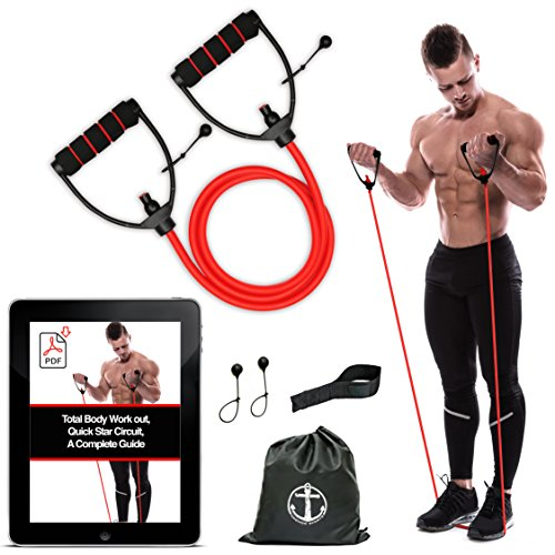 Pilates Resistance+Door Anchor Exercise Heavy Duty Bands Tube Home Fitness US Sporting Goods Fitness Equipment & Gear