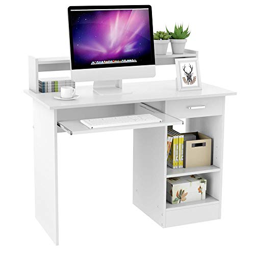 Yaheetech White Computer Desk With Drawers Storage Shelf